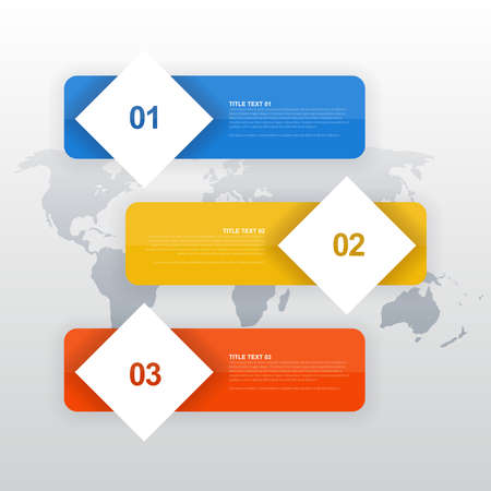 Three numbered colored banners. On a white background with a world map.