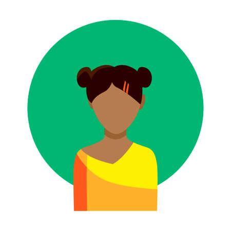여성 얼굴 녹색 원 배경 및 흰색 배경에 풀어주는 소녀. 벡터 아이콘입니다. 일러스트
