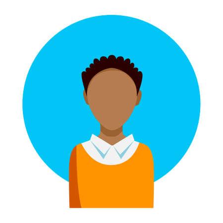남성 얼굴 흰색 배경에 파란색 원으로 Aframerican 남자. 벡터 아이콘입니다.