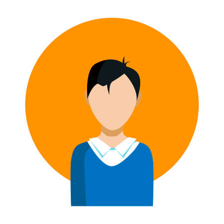 The mans face of an Asian guy. On a background of an orange circle on a white background. The vector icon. Illustration