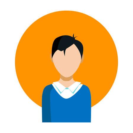 La faccia dell'uomo di un ragazzo asiatico. Su uno sfondo di un cerchio arancione su uno sfondo bianco. L'icona del vettore.