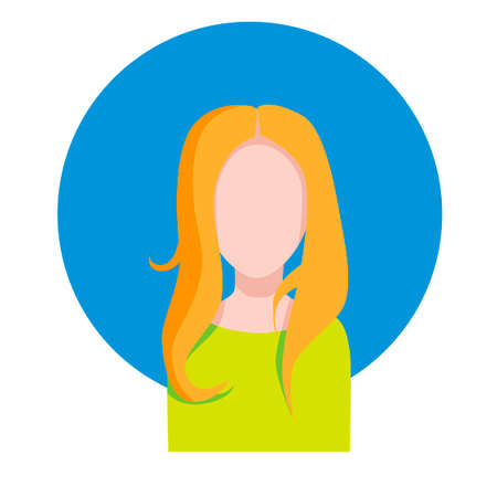 Female face of a European girl. On a blue circle background on a white background. Vector illustration. Illustration