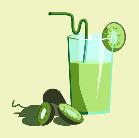 Juice from kiwi with a glass with a straw and a few slices of kiwi. Vector picture. Banner. Illustration