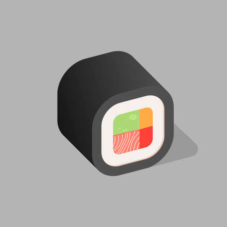 Japanese cuisine, traditional food icon. A roll with a nori sheet. Vector picture. Banner.