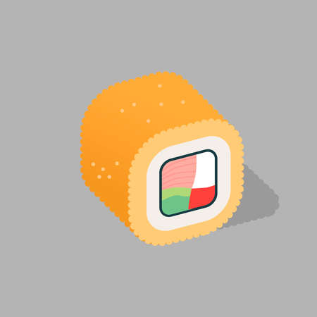 Japanese cuisine, icon of traditional food. Roll with salmon and rice. Vector illustration. Banner.