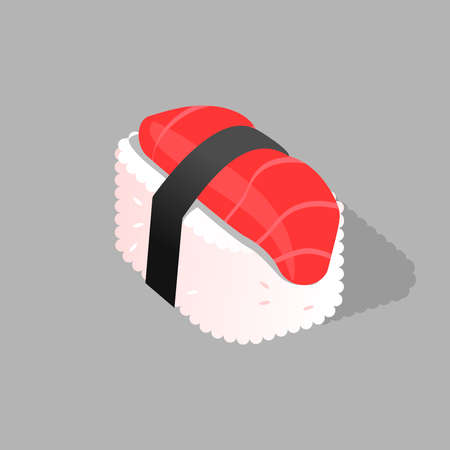 Japanese cuisine, traditional food icon. Sushi with white rice, fish-salman and wrapped in nori.