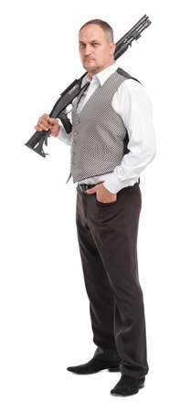 Man with gun on white isolated background Stock Photo