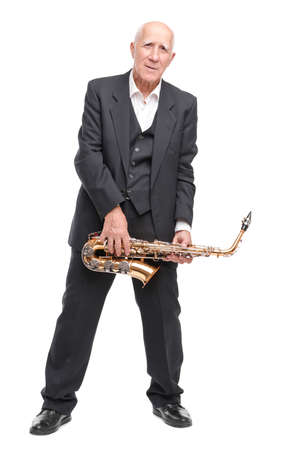 Grandfather with sax on white isolated background