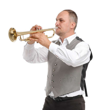A man in a gray shirt is playing on a pipe