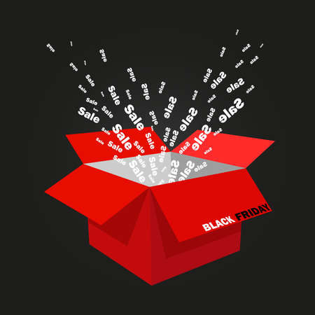 Box red and open black Friday whence fly out the words sale on a black background