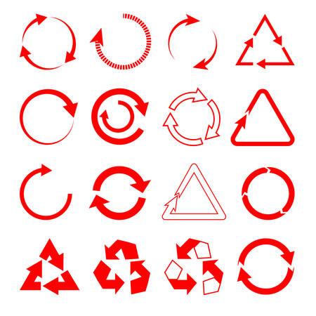 동그라미와 삼각형 전체 및 흰색 격리 된 배경에 kutsy의 형태로 빨간색 화살표의 집합