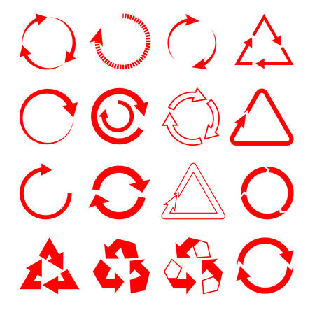 Set of red arrows in the form of circles and triangles full and kutsy on a white isolated background Illustration