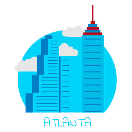 Icon of the city of Atlanta with large and blue skyscrapers with clouds.
