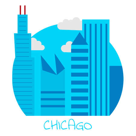 home theater: Icon of the city of Chicago with large and blue skyscrapers with clouds. Illustration