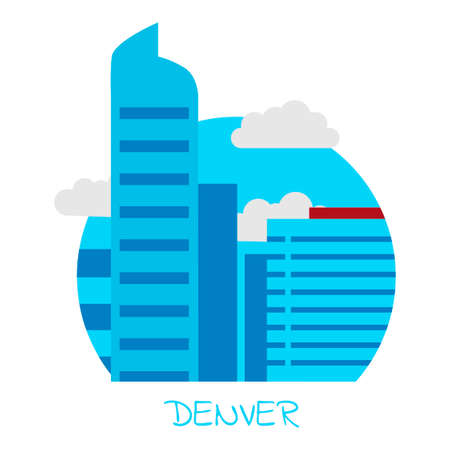 denver buildings: Icon of the city of Denver with blue skyscrapers and gray clouds on a white isolated background and the inscription Denver