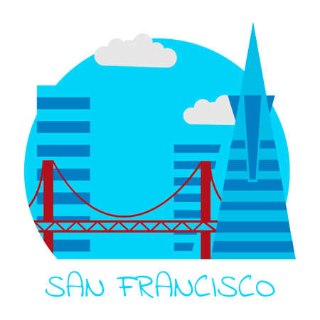Icon of the city of San Francisco with skyscrapers and a golden gate bridge on a white background