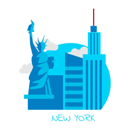 Icon of the city of New York with a statue of freedom and famous buildings on a white background