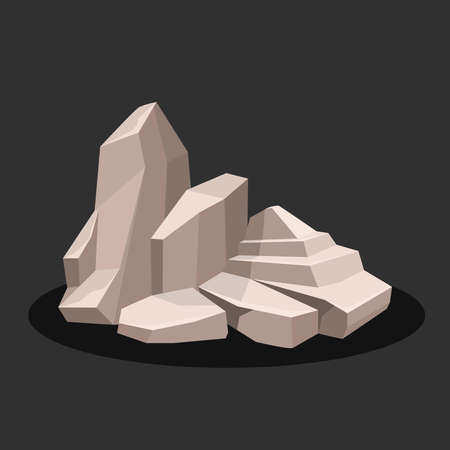 Gray Rock stone of complex shape with shadow. On a black background. Vector illustration.