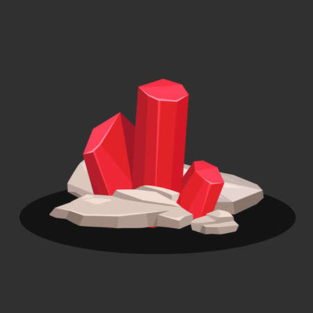 Icon of a red ruby crystal on a black background. Vector illustration. Banner.