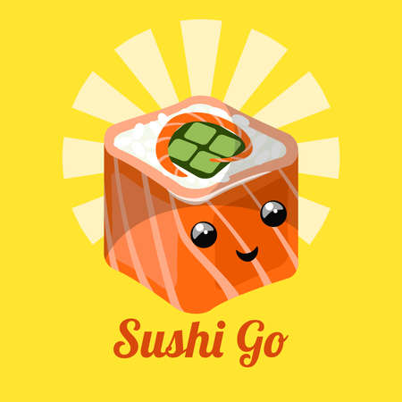 Sushi Roll with funny cartoon face