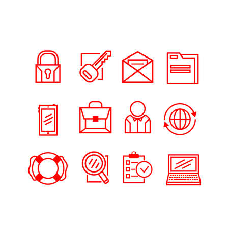Set of business icons on a white background. Vector illustration.