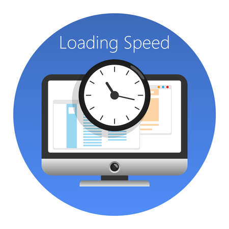 Website loading speed or worked time icon. In a blue circle on a white background. Vector illustration.