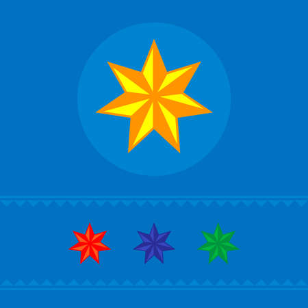 Set of colored six-pointed stars of web icons. On a blue background. Vector illustration. Banner.