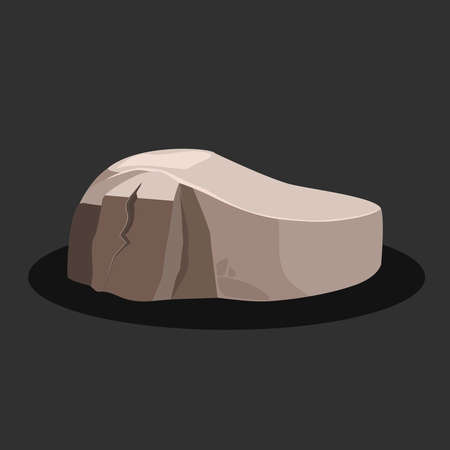 One big gray rock stone on a black background. Vector illustration. Illustration