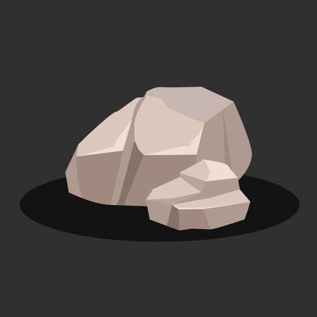 Two gray rock stone on a black background. Vector illustration. Stock Photo