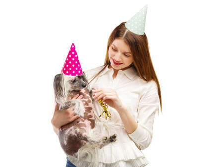 A girl shows her little Chinese Crested dog a festive tune. Isolated on white background. Indoors.
