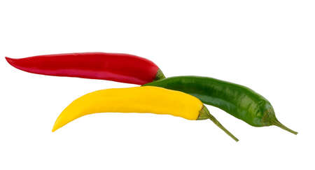 Spicy, bright, colored pepper isolated on white background