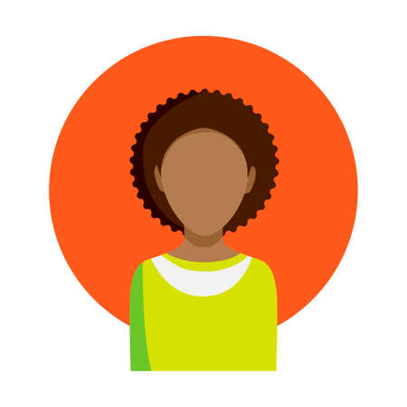 Silhouette of an African-American man in orange circle on a white background. Vector illustration. Illustration
