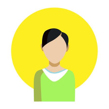 fmale: Portrait of an Asian guy. Vector illustration.