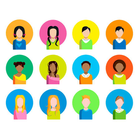 fmale: A set of different icon of the people of different race. On a white background. Vector illustration.