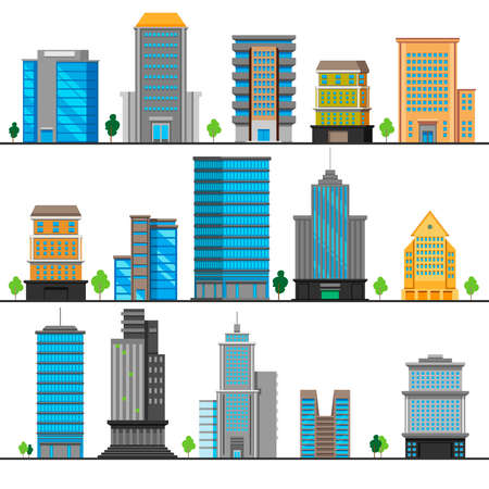 A set of different building objects.