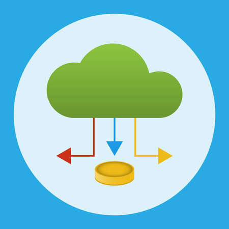 A cloud with an arrow under which a coin. Business concept. Vector illustration. Illustration