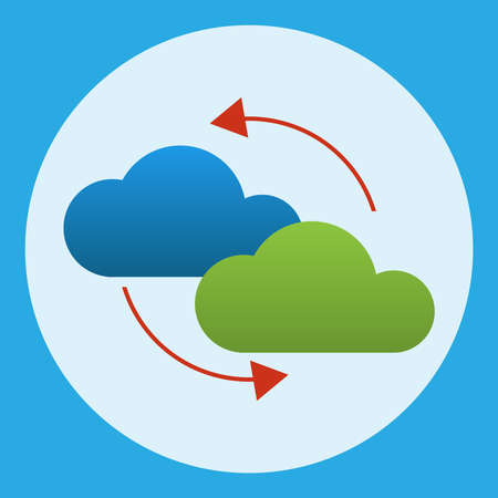 Two colored clouds around which two arrows demonstrate the process of information exchange. Illustration