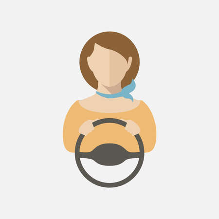 Silhouette of a young girl driving a car.Vector illustration, vector icon.