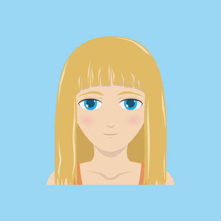 Face expression of a blonde woman - natural, calm. Female emotions. Vector illustration.