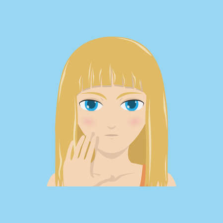A girl raising palm forwards, body language, saying no, stop. Vector illustration, vector icon.