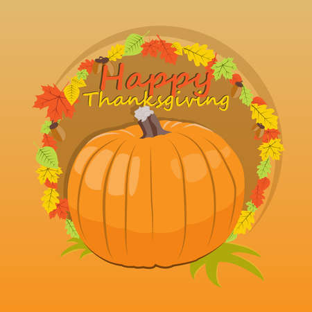 broadsheet: Banner of thanksgiving day with a congratulatory inscription and picture of a pumpkin. Vector illustration.