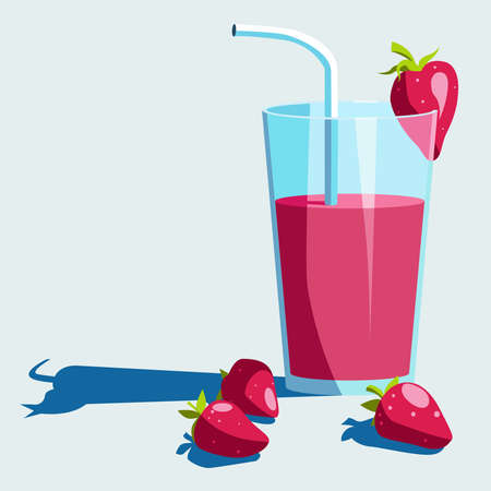 dulcet: Delicious strawberry fresh in a glass. Vector illustration. Illustration