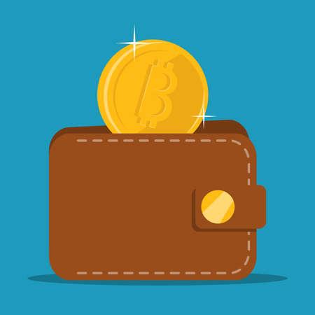 The bitcoin falls into a purse. Vector illustration. The concept of finance. Vettoriali