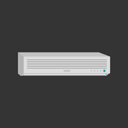 An air conditioner on a black background. Vector illustration.