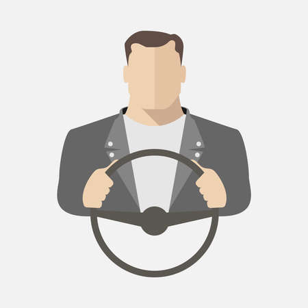 A man is driving a car. Vector illustration.