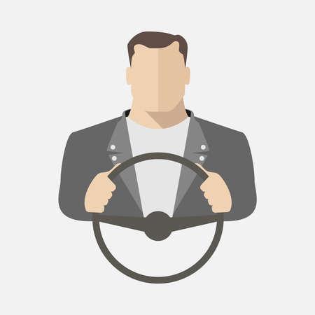 Un hombre está conduciendo un automóvil. Ilustración vectorial
