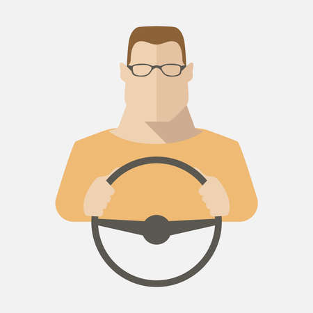 Silhouette of a man in glasses that sits behind the wheel. Vector illustration. Illustration