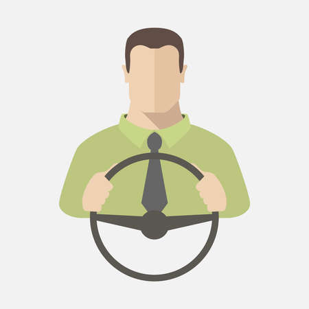 Silhouette of man in shirt and tie that sits behind the wheel of a car.