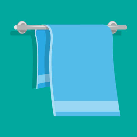 Bath towel hanging on the holder. Vector illustration.