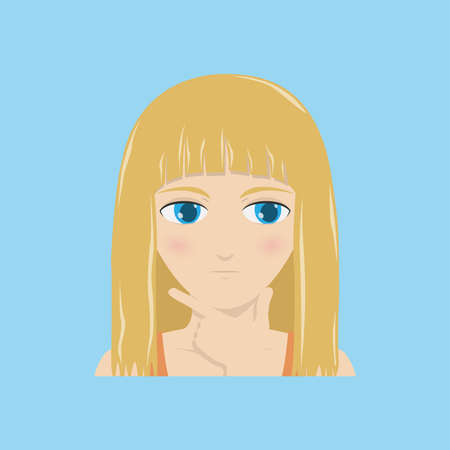 A girl with a pensive face holds a hand against her chin. Vector illustration.